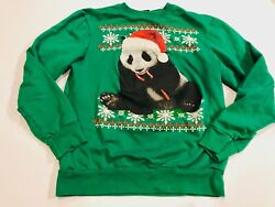 FIFTH SUN Women#x27;s Green Christmas Panda Sweatshirt Size Small $8.95