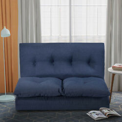 Folding Chaise Lounge Sleeper Fabric Sofa Floor Couch Sofa Chair Sofa Bed Blue $196.99