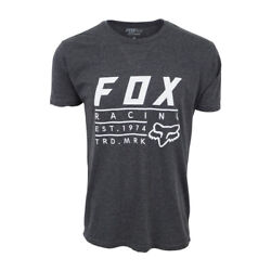FOX RACING MENS ESTABLISHED T SHIRT CHARCOAL WITH WHITE $11.50