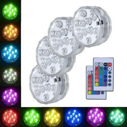 Underwater Submersible LED Lights RGB Remote Control Battery Operated Waterproof $17.99