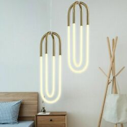 Golden Tube Pendant Light Living Room Bedroom Lamp Scene Hanging Lamps Light $173.88