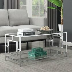 Modern Coffee Table Glass Steel Frame Living Room Sofa Center Accent Furniture $189.63
