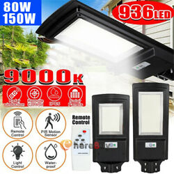 900000LM Commercial Solar LED Street Light IP67 Area Road Lamp PIRRemotePole