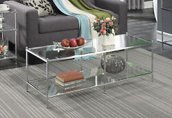 Coffee Table Glass Shelves Living Room Furniture Modern Contemporary Chrome New $128.27