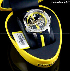 Invicta Men#x27;s 50mm S1 Rally AUTOMATIC SKELETONIZED DIAL Black Yellow Tone Watch $144.99