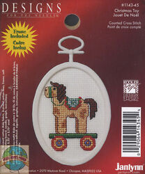 Cross Stitch Mini Kit DFN Christmas Toy Pull Horse Ornament w Frame #1143 45 $2.99
