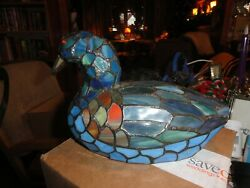 TIFFANY STYLE STAINED GLASS DUCK LAMP SHADES OF BLUE BEAUTIFUL 11quot;L 5quot;W;7.5quot; H $35.00