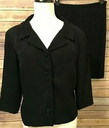 Talbots Petites Black Skirt Suit Size 14 Floral Blazer Top Textured Lined Career $37.99