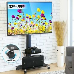 Mobile TV Stand Trolley Cart Black Floor With Wheels for 32 65 inch Flat D4 $81.59