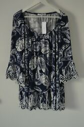 $68 Fever Tunic Chic Embroidered Blouse Boho Peasant Rayon Plus Size 1X $22.90