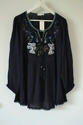 $74.50 New Vintage America Boho Peasant Navy Chic Tunic Blouse Top Pus Size 1X $26.90
