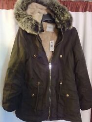 New w Tags Ladies Faux Fur Hooded Parka Jacket $50.00