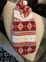 Fluffy Christmas Winter Jacket Coat Sweater W Hood For Small Dog Breeds Size L $14.00