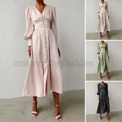 Women Long Sleeve Silky Satin Vintage Dress Ladies Evening Party Gown Maxi Dress $23.87