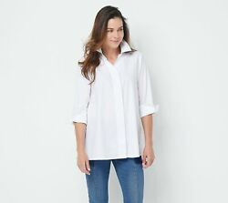 Martha Stewart Collared Stretch Button Front 3 4 Sleeve Top White L A355010 $12.75