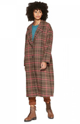Wild Fable TWEED Pink Brown Plaid Check Button Oversized Wool Coat Long XL NWT $39.99
