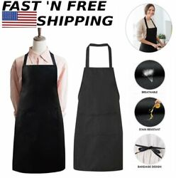 Black Women Solid Cooking Kitchen Restaurant Bib Apron Dress with 2 Pockets US