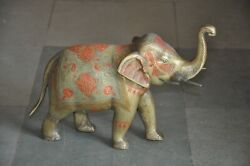 Old Brass Handcrafted Inlay Engraved Lacquer Work Solid Heavy Elephant Figurine $136.00
