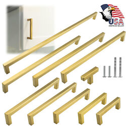 Gold Square Brushed Satin Brass Cabinet Handles Pulls Kitchen Stainless Steel $11.00