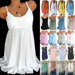 Plus Size Women Baggy T Shirt Sexy Lace Vest Tank Tops Summer Beach Tee Cami Top $15.19