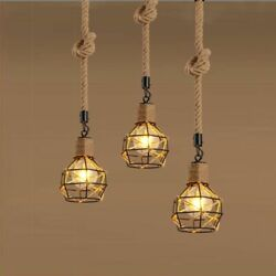 Loft Retro Handmade Hemp Rope Pendant Lights Iron Vintage Led Hanging Lamps $39.15