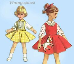 1950s Vintage Simplicity Sewing Pattern 2287 Toddler Girls Poodle Skirt Size 3 $15.76