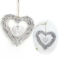 Natural Wicker Love Heart Shape Wreath Hanging DIY Wedding Party Home Decoration $7.94