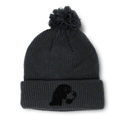 Pom Pom Beanies for Women Beagle Head Dog Silhouette Embroidery Dogs Skull Cap $17.99
