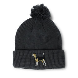 Pom Pom Beanies for Women Beagle A Embroidery Dogs Winter Hats for Men Skull Cap $17.99