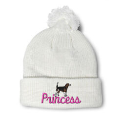 Pom Pom Beanies for Women Beagle Princess Dog Pet Embroidery Acrylic Skull Cap $17.99