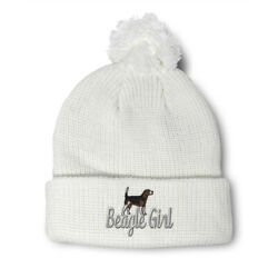 Pom Pom Beanies for Women Beagle Girl Dog Pet Embroidery Dogs Acrylic Skull Cap $17.99