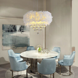 Modern Crystal Chandelier White Feather Drum Shade Pendent Ceiling Light Fixture $149.00