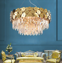 Luxury Contemporary Chandelier Large Prismed Crystal Lighting Living Room Lamp $369.55