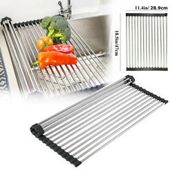 Kitchen Over the Sink Dish Drying Rack Roll Up Drainer Mat Food Holder Stainless $10.59