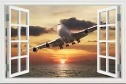3D Airplane Window View Wall Stickers Large Home Bed Room Decor Vinyl Art Decal $14.99