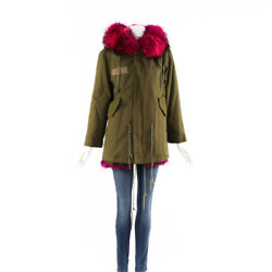 Mr amp; Mrs Italy Coat Green Cotton Pink Fur Collar SZ XL $1706.10