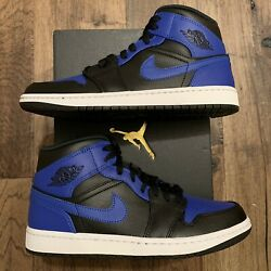 NEW Nike Air Jordan 1 Mid #x27;Hyper Royal#x27; Black Men#x27;s Sizes 554724 077 $179.95