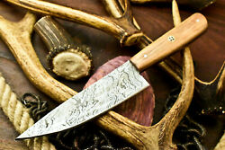 Cutlery Salvation Hand Made Damascus Chef Kitchen Full Tang Knife Olive Wood $42.99