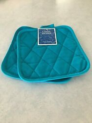 Classic Home 2 Potholders Pot Holders Aqua Bue Teal Cotton Quilted NEW $8.49