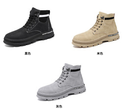 Mens High Top Faux Leather Motorcycle Ankle Boots Shoes Lace up Flats Non slip L $39.71