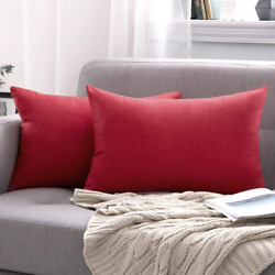 MIULEE Pack of 2 Decorative Outdoor Solid Waterproof Throw Pillow Covers Cotton