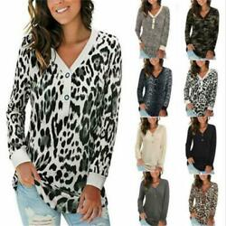 Women Long Sleeve Button Up T Shirt V Neck Casual Tops Loose Blouse Floral Tunic $15.93