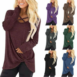 Womens Casual Long Sleeve T Shirt V Neck Tops Loose Blouse Pullover Kint Tunic $16.49