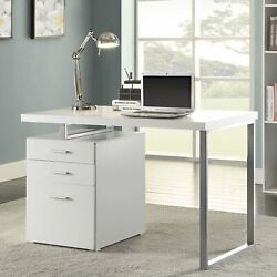 Contemporary Home Office Table Desk w Filing Cabinet 3 Drawer Storage White NEW $219.48