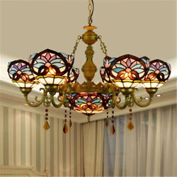 Tiffany Style Stained Glass Large Chandelier Indoor Ceiling Lamp Pendant Fixture $379.00