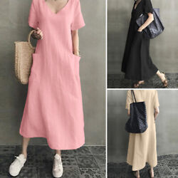 US STOCK Women#x27;s Linen Cotton V Neck Long Maxi Shirt Dress Plain Loose Sundress $20.23