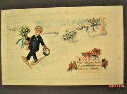 1923 Embossed New Year Card Boy On Snowshoes with Cap Flowers amp; Verse $8.50