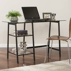 Elegant Glass Writing Computer Desk Contemporary Home Indoor A Frame Furniture $167.67