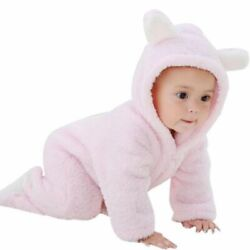 Newborn Baby Winter Thicken Bear Jumpsuit Snowsuit Warm Fleece Hoodie Romper $17.92