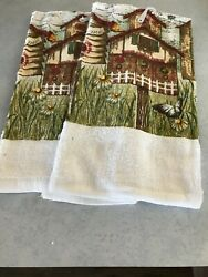 Classic Home 2 Kitchen Towels Home Sweet Home Red Daisy Butterfly Bird House $8.95